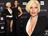 Lady Gaga takes the plunge in very revealing black and white dress while joined by Brooke Shields at Harper's Bazaar event
