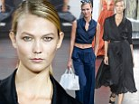 Karlie Kloss wows in black dress during Jason Wu fashion show after sexy outing in blue crop top and trousers