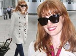 Jessica Chastain jets into Toronto for Film Festival in chic outfit... as she admits she was 'really disturbed' by nude photo leak