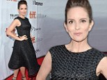 Tina Fey looks youthful as she dons a flirty black textured tea-length frock for the TIFF premiere of her latest film