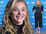 A glowing Chloe Grace Moretz channels the 1980s in a sparkly turtle neck and three-quarter length pleated trousers at The Equalizer press conference in Toronto
