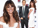 Lea Michele is white hot in plunging frock as she joins hunky Charlie Hunnam at Sons Of Anarchy season seven premiere