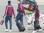Picture Shows: Danny Welbeck, Phil Jones  September 09, 2014    The English football team seen arriving home from Basel, Switzerland.    The official team aircraft with its painted badge on the fuselage could be seen coming in to land after they beat Switzerland 2-0 last night in a Euro 2016 qualifying group match.    English captain Wayne Rooney led the northern based players off the aircraft; while coach Gary Neville could be seen shaking hands with all of the players as they walked across the tarmac into their awaiting vehicles.    Exclusive All Rounder  WORLDWIDE RIGHTS  Pictures by : FameFlynet UK    2014  Tel : +44 (0)20 3551 5049  Email : info@fameflynet.uk.com