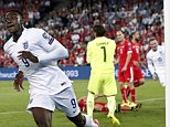 epa04391562 England's forward Danny Welbeck (L) celebrates after scoring the 1-0 lead during the UEFA EURO 2016 qualifying soccer match between Switzerland and England at the St. Jakob-Park stadium in Basel, Switzerland, 08 September 2014.  EPA/PETER KLAUNZER