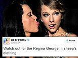 Tongue twister: Is Katy Perry, left, the unidentified person Taylor Swift dissed in her Rolling Stone interview? The pair hung out at the Grammy Awards in Los Angeles in 2010