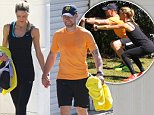 EXCLUSIVE PICTURE: MATRIXPICTURES.CO.UK\nPLEASE CREDIT ALL USES\nRESTRICTED WORLD RIGHTS - NO AUSTRALIA, NEW ZEALAND, ASIA, USA, CANADA, FRANCE, SPAIN, ITALY, PORTUGAL AND GERMANY\nIrish recording artist Ronan Keating and his girlfriend, Storm Uechtritz are pictured working out together with a personal trainer at a Vaucluse park in Sydney, Australia.\nThe pair are seen getting put through their paces as they perform various exercises. \nSEPTEMBER 8th 2014\nREF: MAU 143954\nMax Mercuri