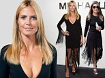 Heidi Klum and Nina Garcia don similar tasseled frocks at Michael Kors show... but supermodel steals the spotlight in her plunging number