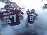 Texas A&M player was fitted with a GoPro camera that captured footage of a group of very pumped up players in the tunnel before the game, with Kanye West?s ?Power? providing a fitting soundtrack before the players emerged onto a packed out Kyle Field and a rapturous reception from over 104,000 supporters.