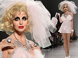 Is that you Camille? Grammar is unrecognisable as she struts down Betsey Johnson catwalk in fluffy negligee, bridal veil and smudged make-up