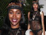 What a flapper! Jessica White reveals her underwear in completely see-through 1920s style dress at Fashion Week party