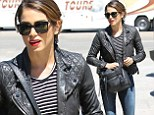 Biker chic! Nikki Reed opts for edgy look in leather jacket, skinny jeans and bright red heels as she heads out for lunch