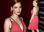 Pretty sexy in pink! Jessica Chastain sizzles in plunging and backless coral dress at The Disappearance Of Eleanor Rigby screening