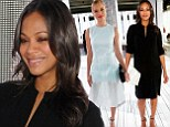 A tale of two looks! Pregnant Zoe Saldana covers up baby bump in loose black frock, while Kate Bosworth ops for pastel semi-sheer dress at NYFW