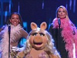 No pig deal: Mel B (left) and Heidi Klum  (right) performed on stage with Muppets star Miss Piggy on America's Got Talent on Wednesday evening
