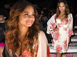 Christina Milian shows off ample cleavage in low-cut floral kimono as she sits front row at Betsey Johnson NYFW runway show