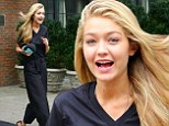 Model Gigi Hadid was spotted heading out for another industry event on Tuesday. Dressed in an all black ensemble, the Palestinian-Dutch beauty looked surprised at the level of wind as she stepped out onto the busy Manhattan streets