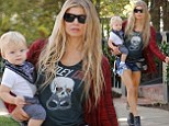 Fergie gets leggy in Daisy Dukes while on a Brentwood stroll with son Axl