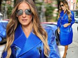 She's electric! Sarah Jessica Parker steals the show in bright blue trench as she arrives at Calvin Klein NYFW event