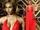Woman in red: Cynthia Bailey walked the runway on Thursday at the Kithe Brewster show as part of New York Fashion Week