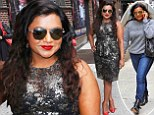 Mindy Kaling goes from drab to fab in glittery Lela Rose peplum dress for Letterman appearance in NYC