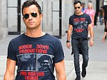 Justin Theroux shows off sculpted arms as he steps out solo in New York City