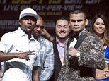 WBC/WBA welterweight champion Floyd Mayweather Jr. (L) of the U.S. poses with Marcos Maidana of Argentina during a news conference at the MGM Grand hotel-casino in Las Vegas, Nevada September 10, 2014. Mayweather will defend his titles, including his WBC jr. middleweight title, against Maidana in a rematch at the MGM Grand Garden Arena on September 13. REUTERS/Las Vegas Sun/Steve Marcus (UNITED STATES - Tags: SPORT BOXING)