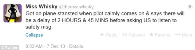 Flight delay tweet by Miss Whisky