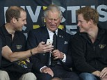 Boy's day out: The Duke of Cambridge, Prince Charles and Prince Harry enjoy a giggle courtesy of a snap