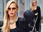The ultimate fashion accessory! Rachel Zoe steps out with colour coordinated baby stroller in New York