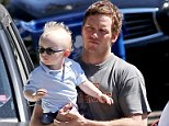 Father and son bonding: The Guardians star was without his actress wife Anna Faris