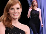 Jessica Chastain shows off her hourglass shape in elegant strapless frock on The Tonight Show