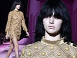 Golden girl! Kendall Jenner sports bob and ghostly make-up as she makes Marc Jacobs catwalk return in studded metallic dress
