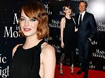 """Actors Emma Stone, left, and Colin Firth pose during a photocall prior to the screening of """"Magic in The Moonlight"""" directed by Woody Allen presented in Paris, Thursday, Sept. 11, 2014. (AP Photo/Francois Mori)"""