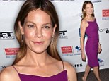 Purple patch! Michelle Monaghan is sleek and sophisticated in plum dress at screening of new film Fort Bliss