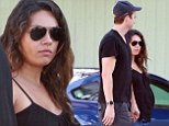 Any day now! Ashton Kutcher escorts his pregnant fiancée Mila Kunis to a romantic organic lunch date in Studio City