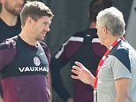 England's Steven Gerrard talks with sports psychologist Steve Peters during an England training session at the Urca Military Base in Rio de Janeiro, Brazil.     (Photo by Richard Heathcote/Getty Images) RIO DE JANEIRO, BRAZIL - JUNE 16 2014