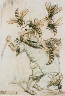 24K jpg image of Gulliver fighting the brobdingnabian wasps