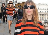 Alexa Chung pictured at Emilia Wickstead show during LFW S/S 2014  Pictured: Alexa Chung Ref: SPL841696  130914   Picture by: KP Pictures  Splash News and Pictures Los Angeles: 310-821-2666 New York: 212-619-2666 London: 870-934-2666 photodesk@splashnews.com