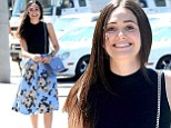 Coming up roses! Emmy Rossum is fashionably feminine as she heads to lunch in a floral skirt
