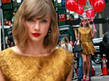 That's one way to catch attention! Taylor Swift looks ready to fly away as she walks through New York with a dozen red balloons