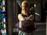 Emily Younker poses for a portrait on Friday, Sept. 12, 2014, in Montgomery, Ala. She isn¿t getting married until next year but she¿s already made sure the date doesn¿t conflict with college football. (AP Photo/Brynn Anderson)
