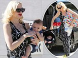 Mother-of-three Gwen Stefani, 44, took her trio of boys out to a birthday party in Los Angeles on Sunday, alternating between carrying the littlest, six-month-old Apollo, as well as presents