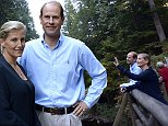 Prince Edward, Earl of Wessex, and his wife Sophie Rhys-Jones, Countess of Wessex, pose for a photo on the TCT Coho River Trail in North Vancouver, British Columbia, Sunday, Sept. 14, 2014. (AP Photo/The Canadian Press, Jonathan Hayward)