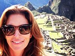 Wonders of the world: Cindy Crawford Instagrammed a selfie overlooking the ancient Inca city of Machu Picchu on Sunday, with the caption, 'Look where I am! Amazing!!!'