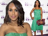 Kerry Washington looks stunning in green dress as she unveils handbag she designed to aid domestic abuse sufferers