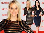 Taylor Schilling and Laura Prepon dazzle in clinging cocktail dresses at Netflix launch party in Berlin