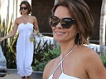 The short hair is working! Brooke Burke-Charvet nails Malibu chic as she strolls through town in flattering white jumpsuit