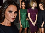 Victoria Beckham makes first appearance at London Fashion Week as she rubs shoulders with Anna Wintour and Jourdan Dunn at VOGUE cocktail bash