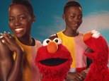 Lupita Nyong'o and red furry muppet Elmo 'love the skin they're in' on Sesame Street