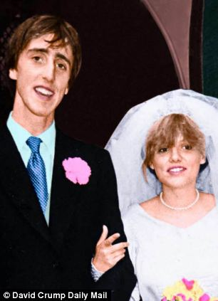 Young love: Olivia on her wedding day to first husband Adam in 1982